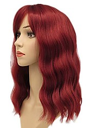 cheap -Cosplay Costume Wig Wavy Middle Part Wig Burgundy Black Burgundy Avocado Green curly wig 1B curly wig 99J Synthetic Hair Women's Burgundy
