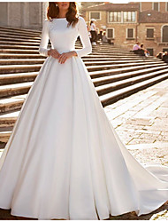 cheap -A-Line Wedding Dresses Jewel Neck Watteau Train Satin Long Sleeve Formal Vintage with Beading Appliques 2020