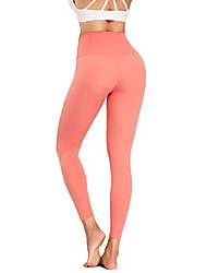 cheap -high waist yoga pants with pockets for women - tummy control workout running 4 way stretch yoga leggings pink