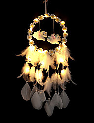 cheap -Dreamcatcher White Feather Wind Chimes LED Night Light Christmas Gift Handmade Dreamcatcher Living Room Bedroom Ornaments Christmas New Year Decoration