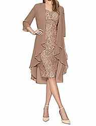 cheap -women elegant two piece long cardigan lace jacket dress plus size cocktail wedding guest party formal mini dress coffee