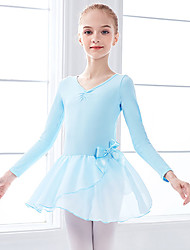 cheap -Ballet Dress Bow(s) Ruching Split Joint Girls' Training Performance Long Sleeve High Spandex