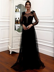 cheap -A-Line Beautiful Back Sexy Party Wear Wedding Guest Dress Jewel Neck Long Sleeve Floor Length Tulle with Tier Lace Insert 2020