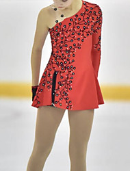 cheap -Figure Skating Dress Women's Girls' Ice Skating Dress Red Spandex High Elasticity Training Competition Skating Wear Solid Color Crystal / Rhinestone Long Sleeve Ice Skating Winter Sports Figure