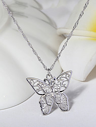 voordelige -Dames Helder Zirkonia Hangertjes ketting Monogram Vlinder Elegant Koreaans Modieus Messinki Zilver 50 cm Kettingen Sieraden 1pc Voor Lahja Verjaardagsfeest Festival