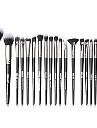 cheap -20pcs makeup brushes set with bag lip eyelash blending eyeliner powder eyeshadow portable makeup brush set pincel maquiagem (black)