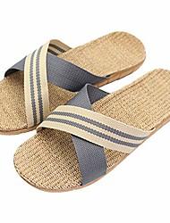 cheap -fashion unisex linen summer beach shoes skidproof indoor slippers, grey-2, 10-sep