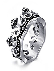 cheap -mens stainless steel vintage crown ring for wedding band promise engagement size 11