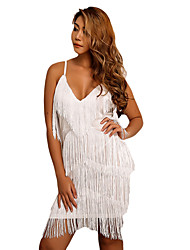 cheap -Women's Sheath Dress Short Mini Dress - Sleeveless Solid Color Backless Tassel Fringe Summer V Neck Plus Size Sexy Going out Club 2020 White Black Red S M L XL