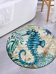 cheap -Ocean Seahorse Pattern Round Type Mat Carpet Door Mat for Bedroom and Living Room Carpet Bathroom Anti-slip Mat  Coral Velve 1pc