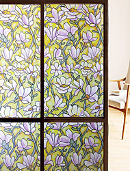 cheap -Yellow Magnolia Effect Frosted Window Film Stained Glass Decorative Privacy Film Static Cling Vinyl Window Sticker for Home 45x100cm