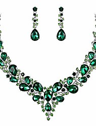 cheap -wedding bridal necklace earrings jewelry set for women austrian crystal teardrop cluster statement necklace dangle earrings set emerald color silver-tone