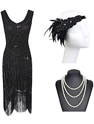 cheap -Sheath Column Roaring 20s 1920s Fashion Party Wear Cocktail Party Dress Jewel Neck Sleeveless Short Mini Spandex Sequined with Beading Sequin 2020
