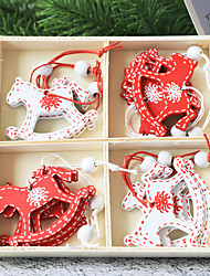cheap -Christmas Toys Pendant Ornaments Garland Horse Elk Snowflake Outdoor Indoor Gift Wooden 8 pcs Kid's Adults 16cm*16cm Christmas Party Favors Supplies