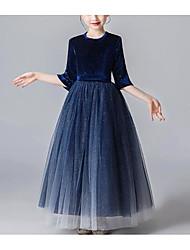 cheap -Kids Girls' Cute Blue Solid Colored Layered Mesh 3/4 Length Sleeve Midi Dress Dusty Blue