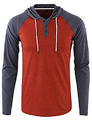cheap -but& #39;s casual long sleeve lightweight henley hooded shirt hoodie jersey h.rusty/c.blue m