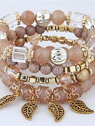 cheap -4pcs Women's Bead Bracelet Bracelet Layered Leaf Vintage European Fashion Acrylic Bracelet Jewelry White / Black / Blue For Gift Date Birthday