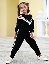 cheap -Kids Girls' Clothing Set Long Sleeve Black Color Block Active Basic Regular