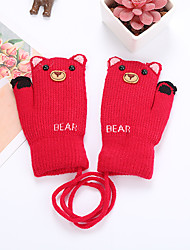 cheap -2pcs Toddler Unisex Active Cartoon Knitted Knitwear Gloves Red / Blushing Pink / Dusty Rose One-Size
