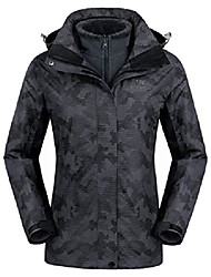 cheap -3-in-1 women's ski jacket waterproof snowboard mountain fashion jackets winter coat with warm fleece inner for hiking outdoor dark grey s