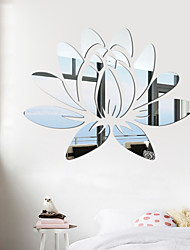 cheap -3D Acrylic Mirror Lotus Flower Wall Sticker Wall Decal Modern Stickers Mural Home Bedroom TV Background Decoration