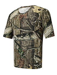 cheap -Men's Hunting T-shirt Tee shirt Camouflage Hunting T-shirt Camo / Camouflage Short Sleeve Outdoor Summer Ultra Light (UL) Quick Dry Breathable Sweat wicking Top Cotton Polyester Camping / Hiking