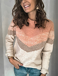 cheap -Women's Basic Knitted Color Block Pullover Cotton Long Sleeve Plus Size Sweater Cardigans Crew Neck Fall Winter Black Blue Blushing Pink