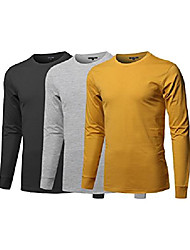 cheap -causal solid basic 100% ring spun cotton long sleeve t-shirt black/heathergrey/mustard xs