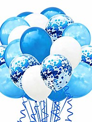 "cheap -confetti balloons set, 100 pack 12"" blue white and confetti latex balloons colorful balloon party kit supplies for wedding birthday thanksgiving, halloween, christmas, new year party (blue white)"