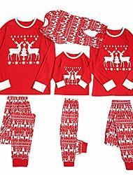 cheap -little kid baby girls boy christmas pajamas cute santa animals print striped striped plaid tops+pants outfits.12m-7t