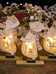 cheap -Christmas Decorations Painted Christmas Elk Lanterns Wooden Santa Claus Snowman With Lights Ornaments 1 AAA Battery not included