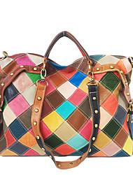 cheap -Women's Bags Leather Cowhide Top Handle Bag Outdoor Retro Handbags Rainbow
