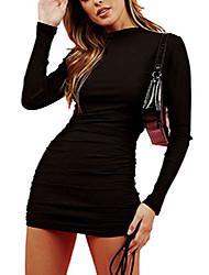 cheap -women's long sleeve sexy club dress shirred mini bodycon dress black m