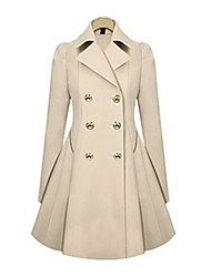 cheap -Women's Solid Colored Active Fall & Winter Trench Coat Long Daily Long Sleeve Cotton Blend Coat Tops Blue