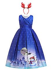 cheap -Santa Suit Dress Girls' Kid's Leisure Dress Christmas Polyester Dress