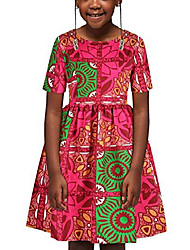 cheap -kids girl's dashiki african print dresses bohemia style pleated multi-way zipper dress for gilrs m rose red