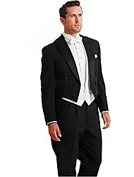 cheap -men's custom made classic peak wedding tailcoat suit pants vest tie set black size 40r