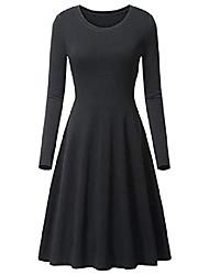 cheap -Women's A Line Dress Knee Length Dress Wine Black Coffee Long Sleeve Solid Color Spring, Fall, Winter, Summer Classic & Timeless 2021 S M L XL XXL
