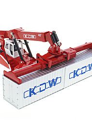 cheap -KDW 1:50 Plastic Alloy Container Truck Lifting Machine Engineering Vehicle Alloy Car Model Deformation Simulation All Adults Kids Car Toys