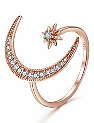 cheap -crescent moon star adjustable ring 925 sterling silver cubic zirconia opening ring jewelry gift with box for women teens
