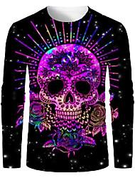 cheap -Men's T shirt 3D Print Graphic 3D Skull Print Long Sleeve Halloween Tops Purple