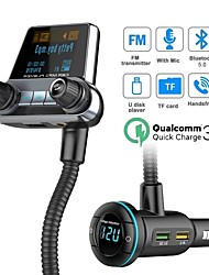 cheap -BT14 FM Transmitter Bluetooth 5.0 Car Kit Handsfree AUX Audio Receiver Quick Charge QC3.0 1.4 Inch Large Screen Display