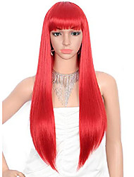 cheap -28 inches women's silky long straight red wig heat resistant synthetic wig with bangs hair wig for women