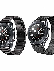 cheap -compatible with samsung galaxy watch 3 41mm band sets,2-pack 20mm stainless steel metal band+ mesh loop bracelet replacement for galaxy watch 3 41mm black