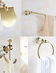 cheap -Bathroom Accessory Set 4pcs Stainless Steel and Zinc Alloy with Towel Bar Robe Hook Towel Ring and Toilet Paper Holder Wall Mounted Golden