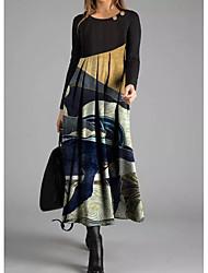 cheap -Women's Shift Dress Maxi long Dress - Long Sleeve Print Print Fall Winter Casual 2020 Rainbow M L XL XXL 3XL