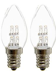 cheap -2pcs 1 W LED Candle Lights 20 lm E12 C35 4 LED Beads Dip LED Decorative Warm White White 110-240 V
