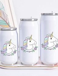 cheap -UNICORN Print Cans Thermo Flask Tumbler Thermos Termo Coffee Mug Water Bottle Termo Cafe Travel Outdoor Straw Bottle