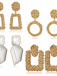 cheap -4 pairs statement drop earrings for women silver-tone