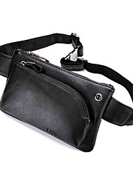 cheap -Unisex Bags Cowhide Fanny Pack Zipper 2020 Daily Outdoor Black